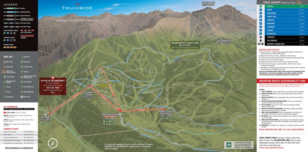 Telluride Ski Resort Bike Trail Map 1