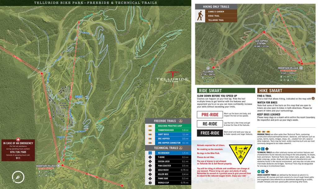 Telluride Ski Resort Bike Trail Map 2