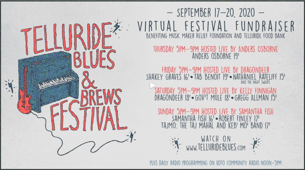 Blues & Brews virtual schedule